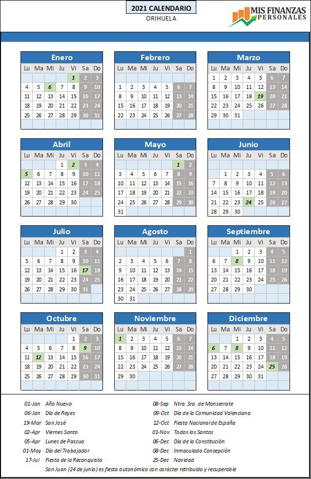 calendario laboral Orihuela 2021