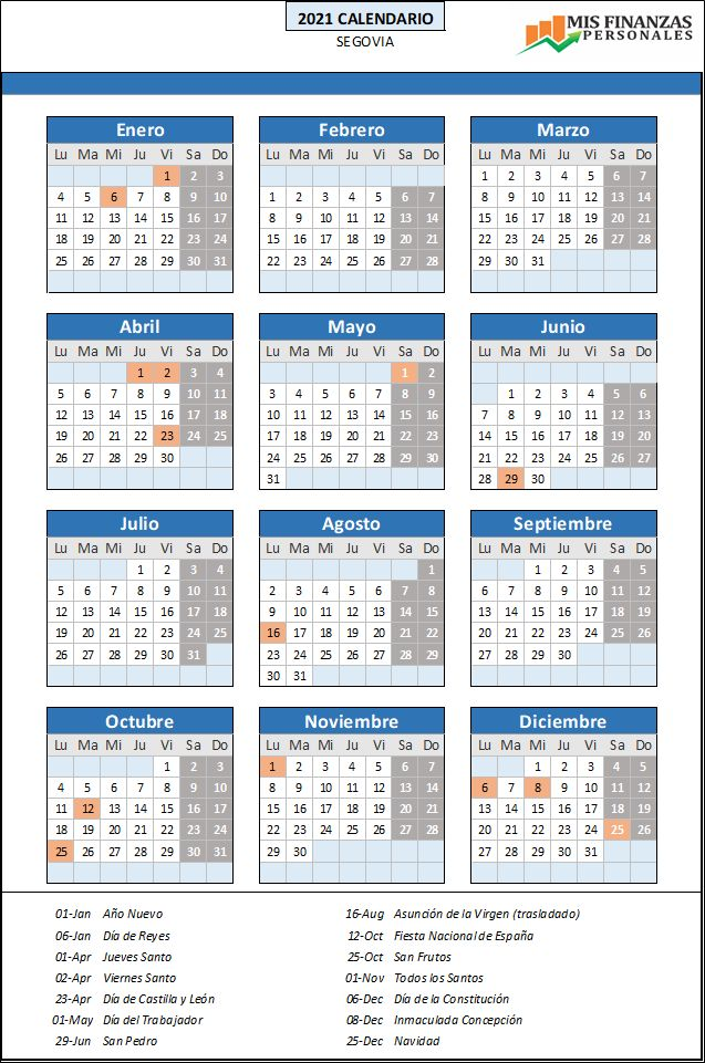 calendario laboral Segovia 2021