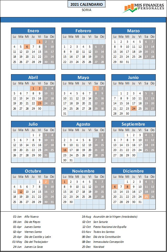 calendario laboral Soria 2021