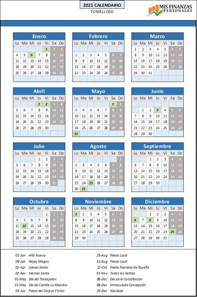 calendario laboral Tomelloso 2021
