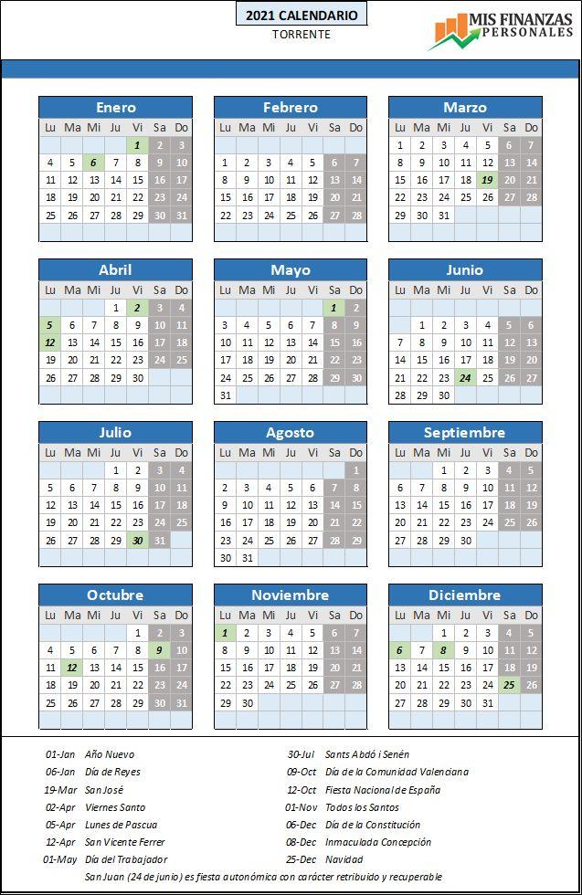 calendario laboral Torrente 2021