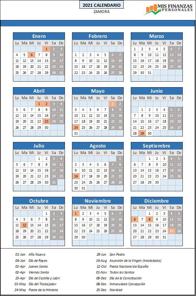 calendario laboral Zamora 2021