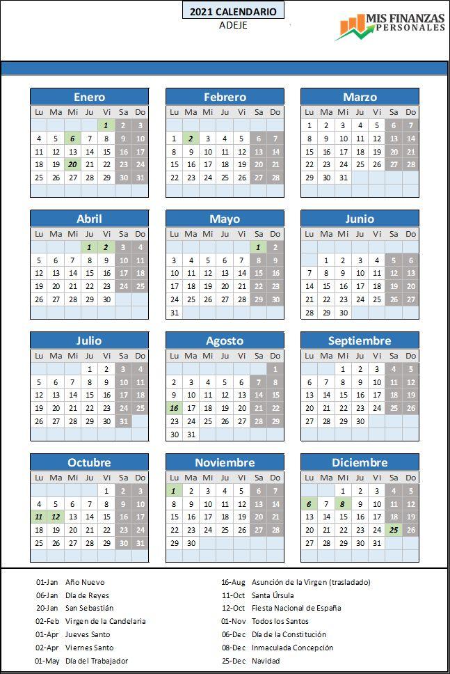 calendario laboral Adeje 2021