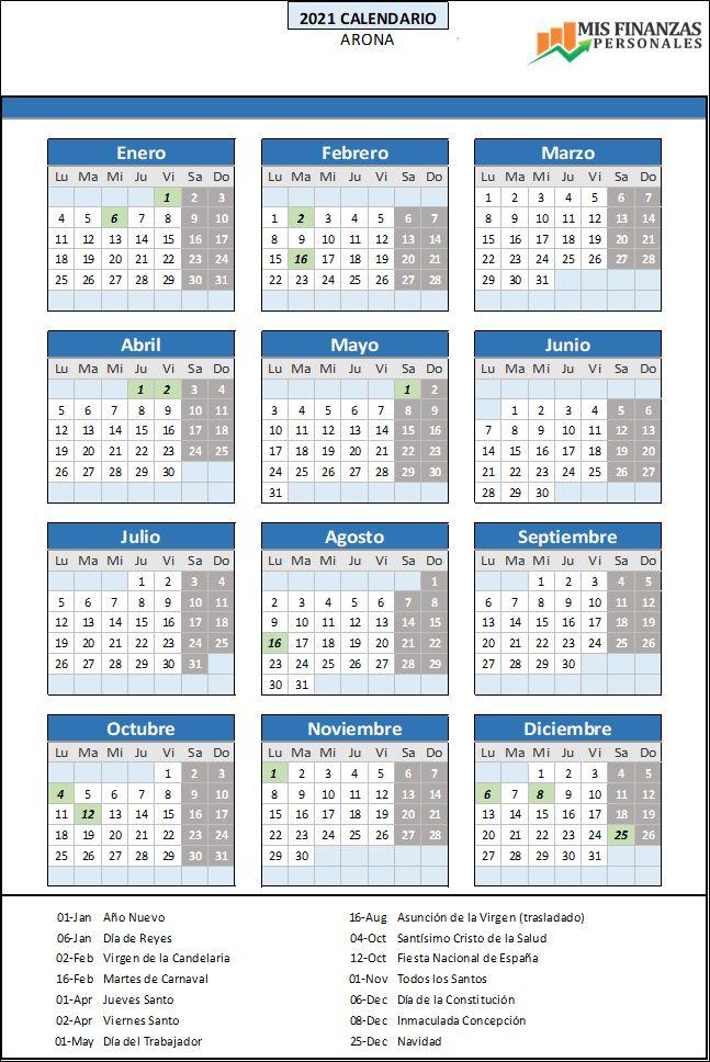 calendario laboral Arona 2021