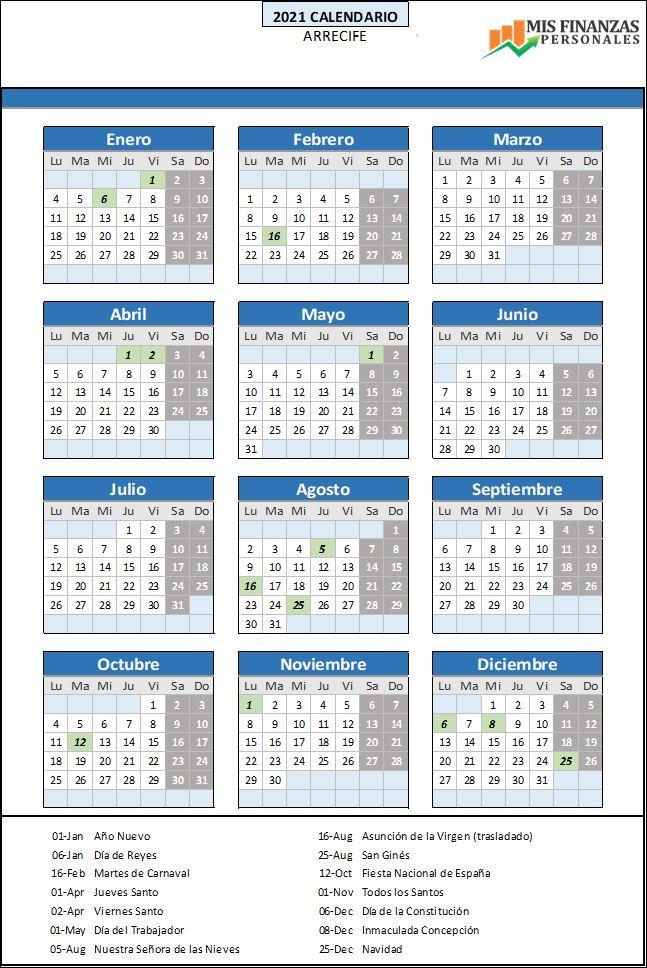 calendario laboral Arrecife 2021