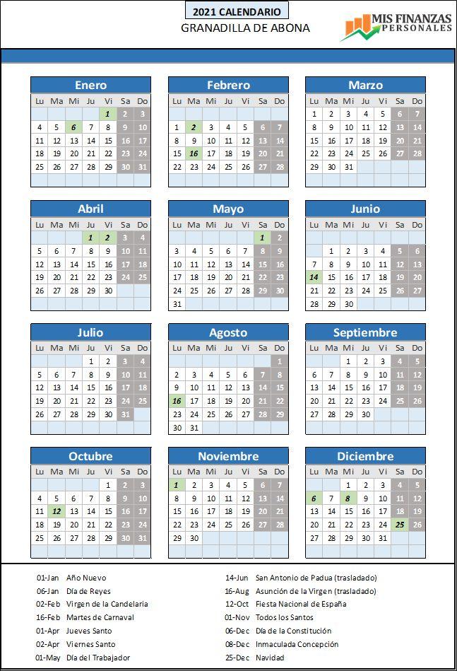 calendario laboral Granadilla de Abona 2021