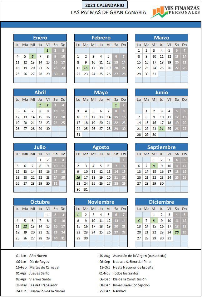 calendario laboral Las Palmas de Gran Canaria 2021