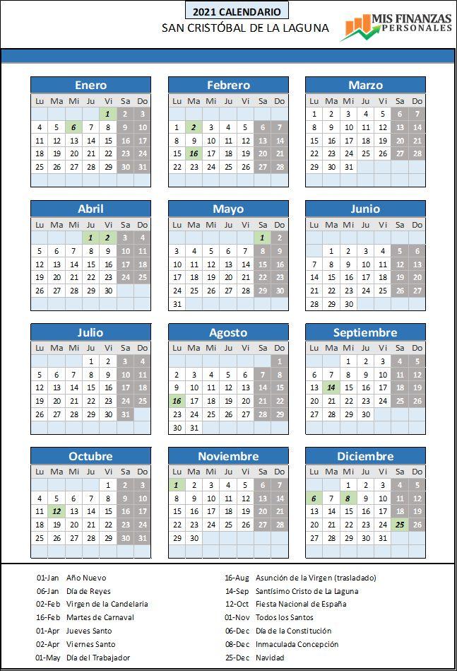calendario laboral San Cristobal de la Laguna 2021