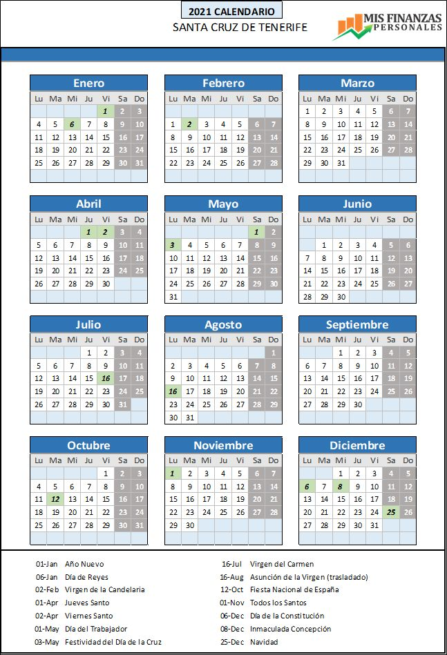 calendario laboral Santa Cruz de Tenerife 2021
