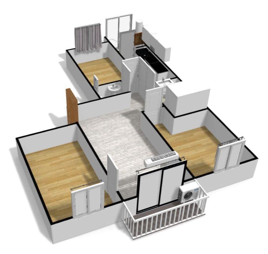 plano 3D piso vita terraza